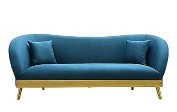Elegant TOV Furniture TOV L6147 The Chloe Collection Modern Velvet Upholstered  Living Room Sofa, Blue