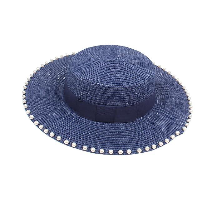 Sombrero De Paja Mujer Verano Visera De Perla Superior Plana De Gran Borde  Exteriores Viaje Sombrero Informal Gorra De Playa Plegable 83ab1e91ac2