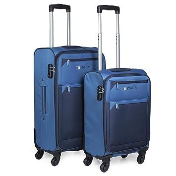 ITACA - Juego de Maletas Viaje 4 Ruedas Trolley Poliéster EVA Extensibles. Resistentes y Ligeras. Mango 2 Asas y Candado. Pequeña Low Cost Ryanair y ...