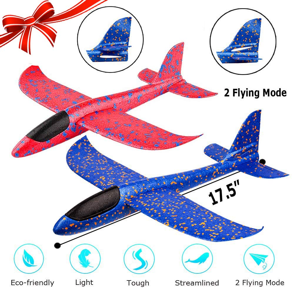 2 Pack Airplane Toy, 17.5'' Large Throwing Foam Plane, Dual Flight Mode, Aeroplane Gliders, Flying Aircraft, Gifts for Kids, 3 4 5 6 7 Year Old Boy,Outdoor Sport Game Toys, Birthday Party Favors by Bootaa (Image #1)