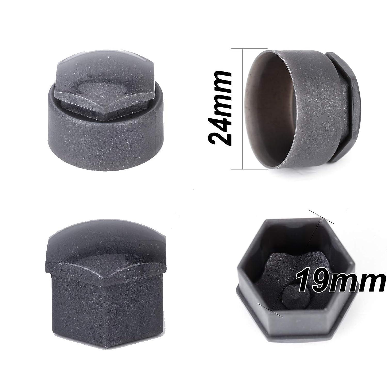 Tapas para Tuercas de Rueda hexagonales de 19 mm para Coche SurePromise 16 est/ándar + 4 Cubiertas de Perno de Bloqueo + 1 Herramienta de extracci/ón Color Gris