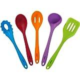 VonShef 5 Piece Multi-Colour Heat Resistant Silicone Kitchen Cooking Utensil Set