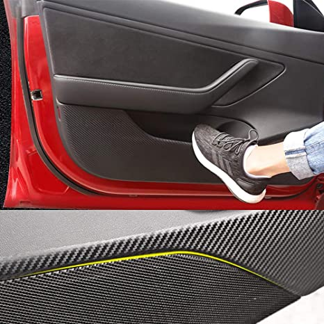BASENOR Tesla Model 3 Door Anti-Kick Sticker Vinyl Carbon Fiber Protector  Strip 4 PCS/Set