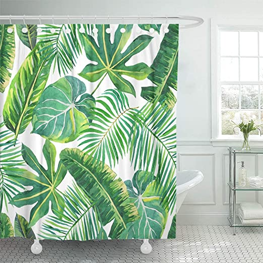 Watercolor banana green leaves Bathroom Shower Curtain Waterproof Fabric /& Hooks