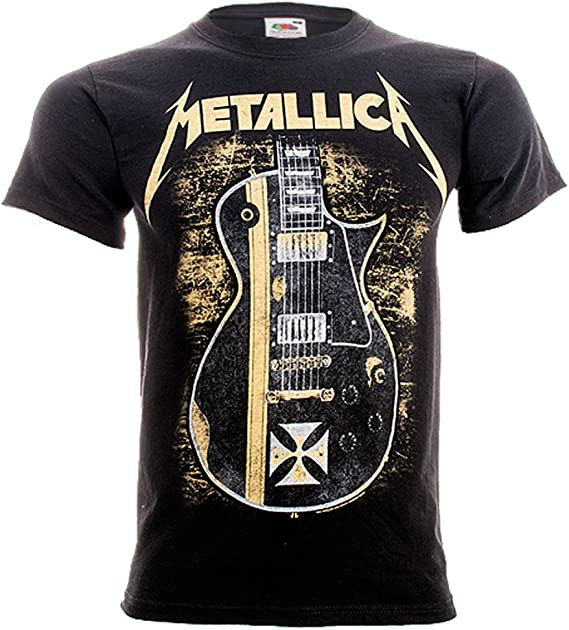 G/én/érique Metallica Hetfield Iron Cross Guitar Top Noir