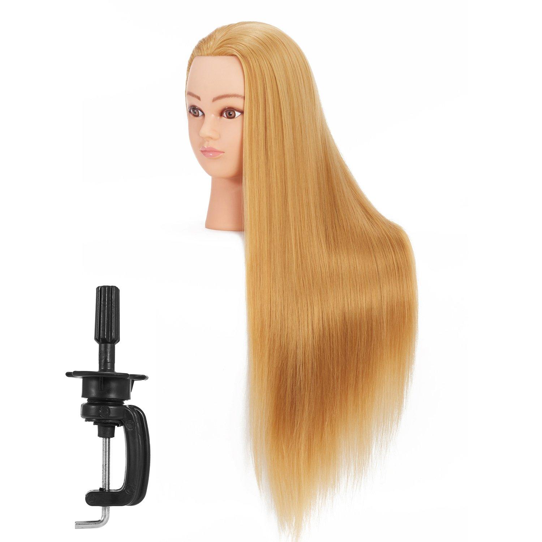 Hairginkgo 26-28'' Cosmetology Mannequin Head Hair Styling Training Head Synthetic Fiber Manikin Head Doll Head with Clamp (91803W2720)