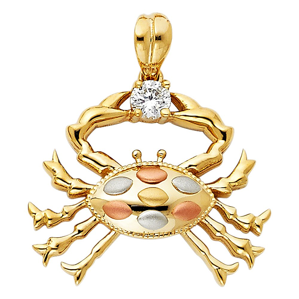 22mm x 25mm Million Charms 14K Tri-Color Gold with White CZ Accented Crab Charm Pendant