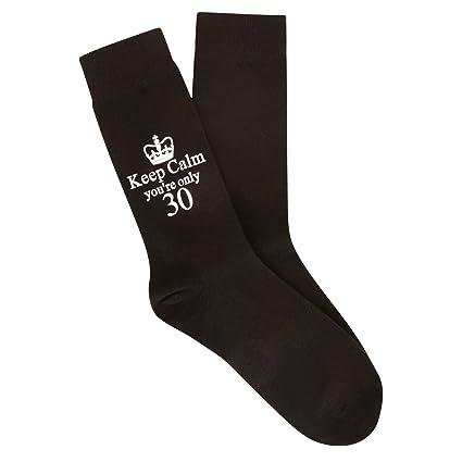 Para mantener la calma sólo 30 calcetines negros 30th con mensaje en regalo de la novedad