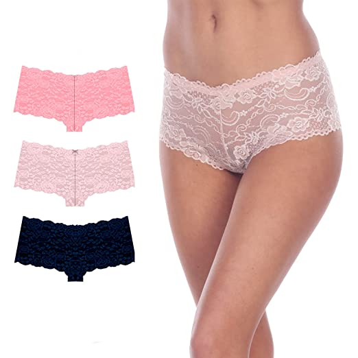 3021d80ae1ef Prima Valentina 3-Pack Full Lace Cheeky Boy Shorts Panties 8M40020 (S, Peach
