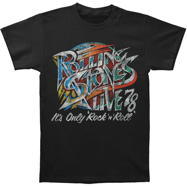 Rolling Stones Men's 78 Rock N Roll T-Shirt Medium Black