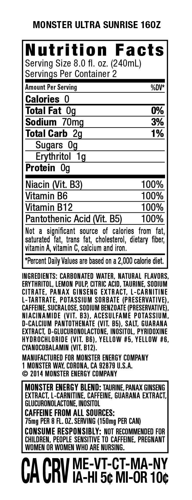 Monster Energy Ultra Sunrise, Sugar Free Energy Drink, 16 Ounce (Pack of 24) by Monster Energy (Image #2)