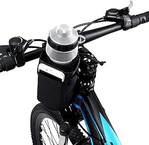 VLTAWA Bike Water Bottle Holder Bag 32oz, Bicycle Water Bottle Cage No Screws, Waterproof-Insulation-Secured Drink Cup Holder with Storage Pocket, Suit for Bike Stroller Scooter Wheelchair Backpack