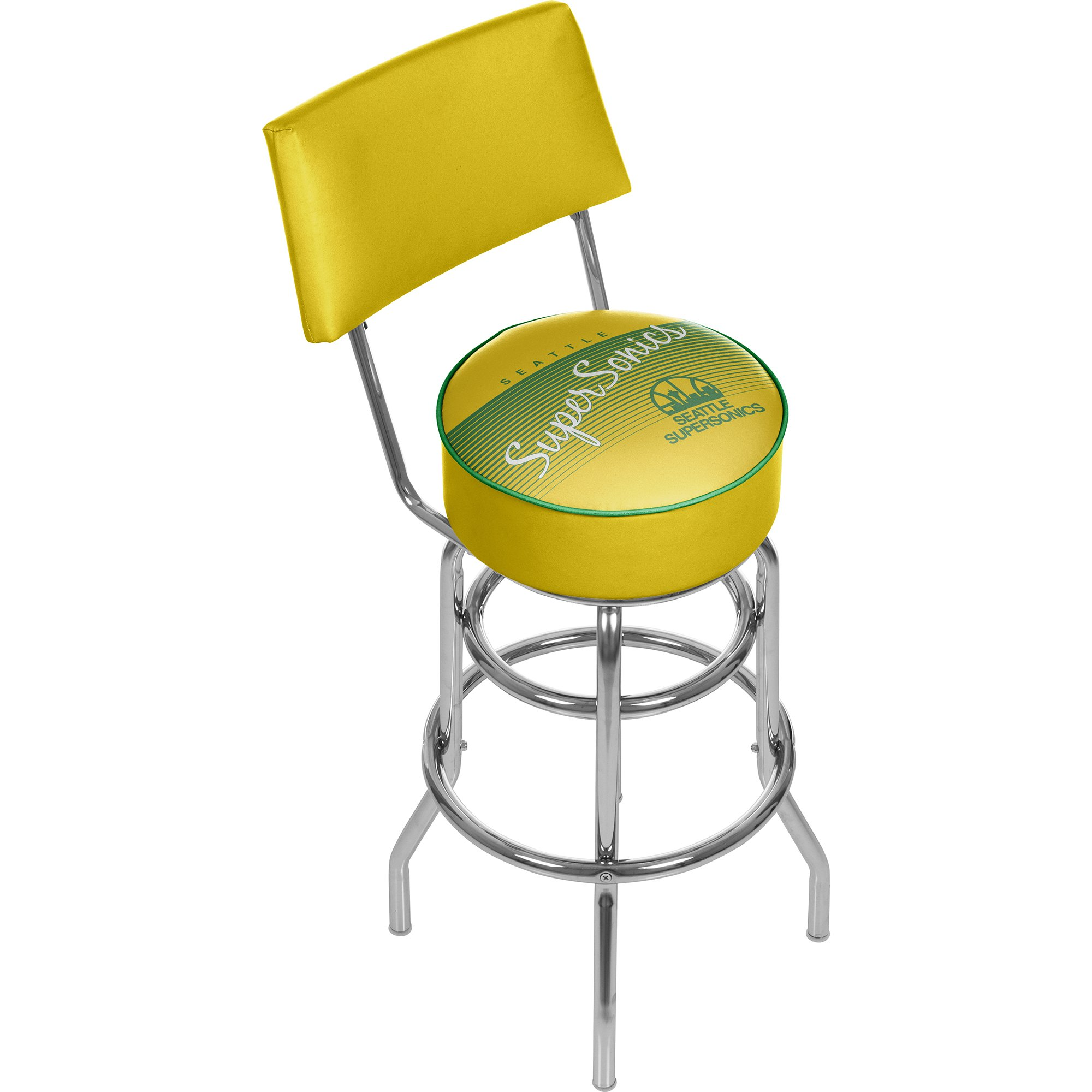 NBA Seattle SuperSonics Seattle Super Sonics Hardwood Classics Bar Stool with Back, One Size, Chrome by Trademark Global
