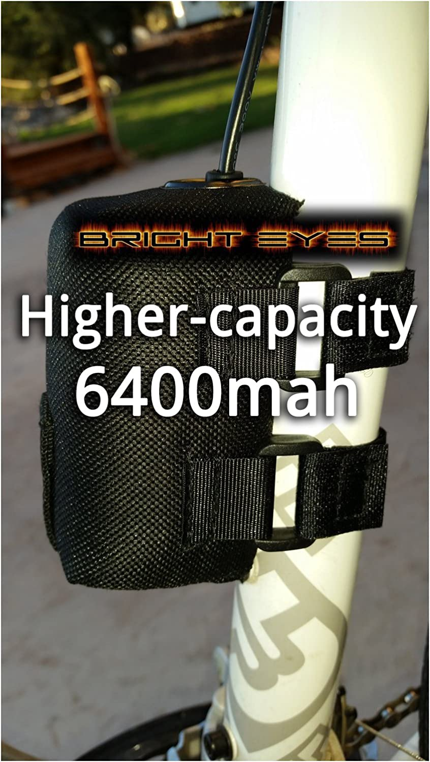 Bright Eyes The Best Bike Light Battery – Now Higher Capacity – Works with CREE T6 LED 1200lm Bike Lights – 8.4v