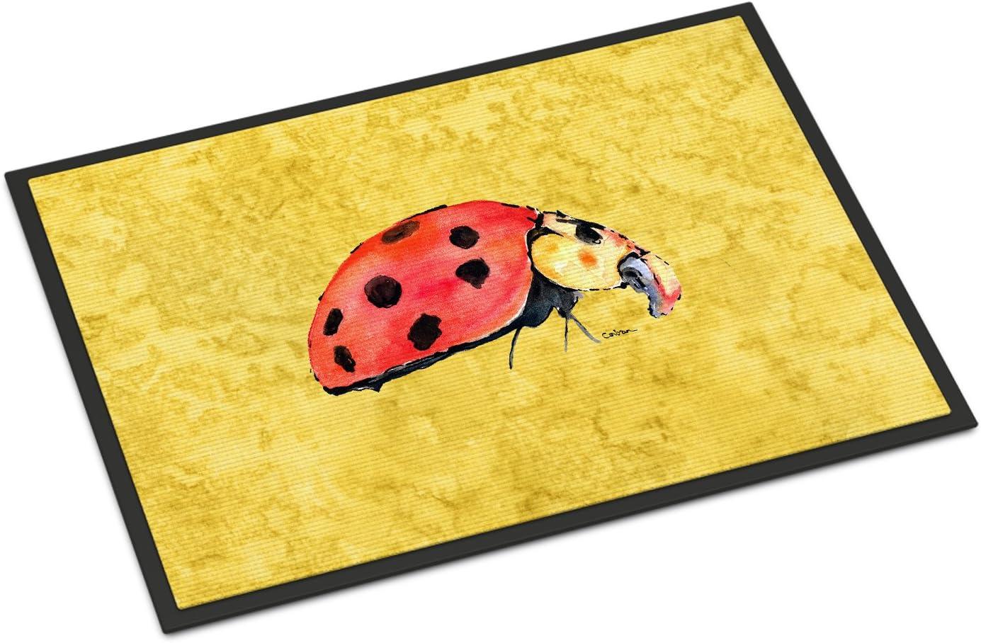 Caroline s Treasures 8867JMAT Lady Bug on Yellow Indoor or Outdoor Mat 24×36 Doormat, 24H X 36W, Multicolor