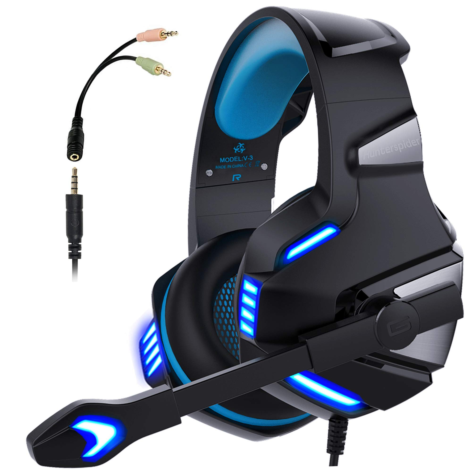 Micolindun V3blue Gaming Headset for PS4 Xbox One, Over Ear Gaming Headphones with Mic Stereo Surround Noise Reduction LED Lights Volume Control for Laptop, PC, Tablet, Smartphones, Blue product image
