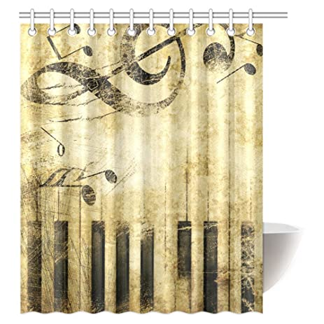 interestprint grunge musical shower curtain print of piano keys on background with musical notes fabric - Musical Shower Curtains