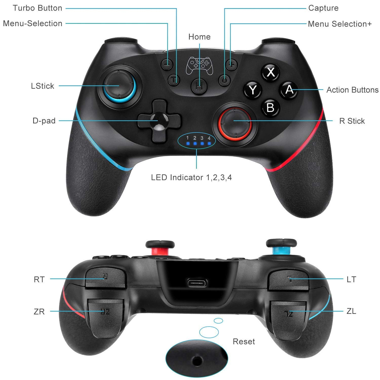 fbe2d6677d6 Wireless Controller for Nintendo Switch, TGJOR Wireless Switch Gamepad  Compatible with Nintendo Switch Console, Built-in Motor with Dual Shock, ...