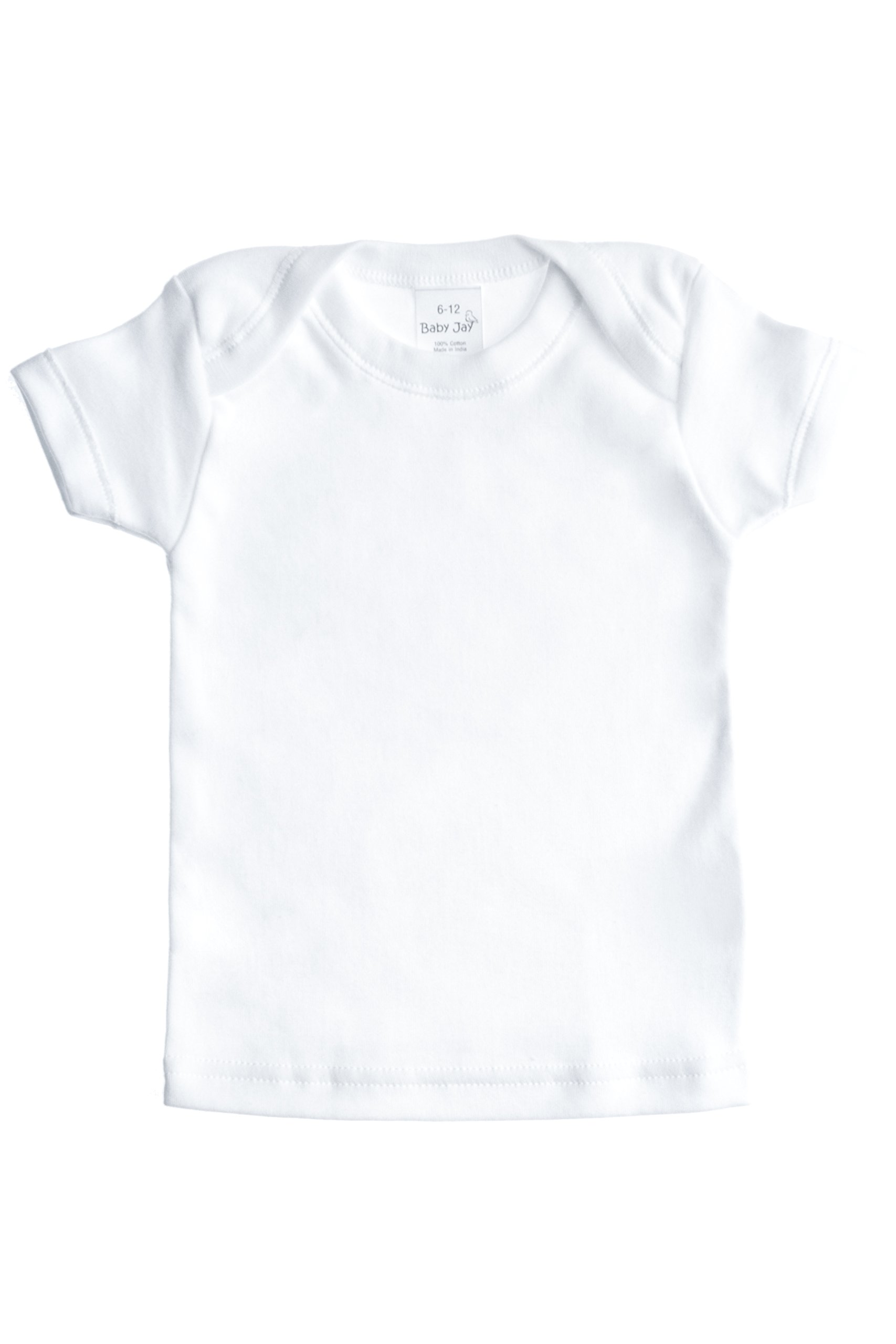 Baby Jay Cotton Undershirt T-Shirt, Short Sleeve Lap Shoulder - WTSE 6-12 5-Pack by Baby Jay (Image #2)
