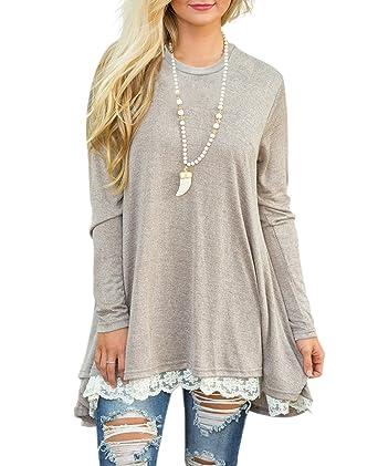 536bf4b188b Omerker Long Sleeve Loose T-Shirt Dresses Lace Tunic Dresses Plus Size  Cotton for Women