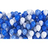 Flipzon Balloon Pack of 100 Pieces (Blue & White) for Birthday Party Decoration & Occasions