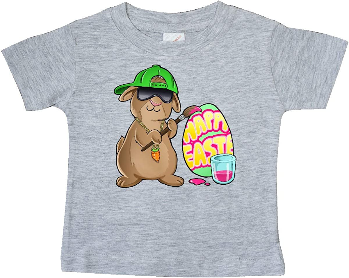 inktastic Hip Hop Artist Cute Brown Easter Bunny Painting Egg Baby T-Shirt
