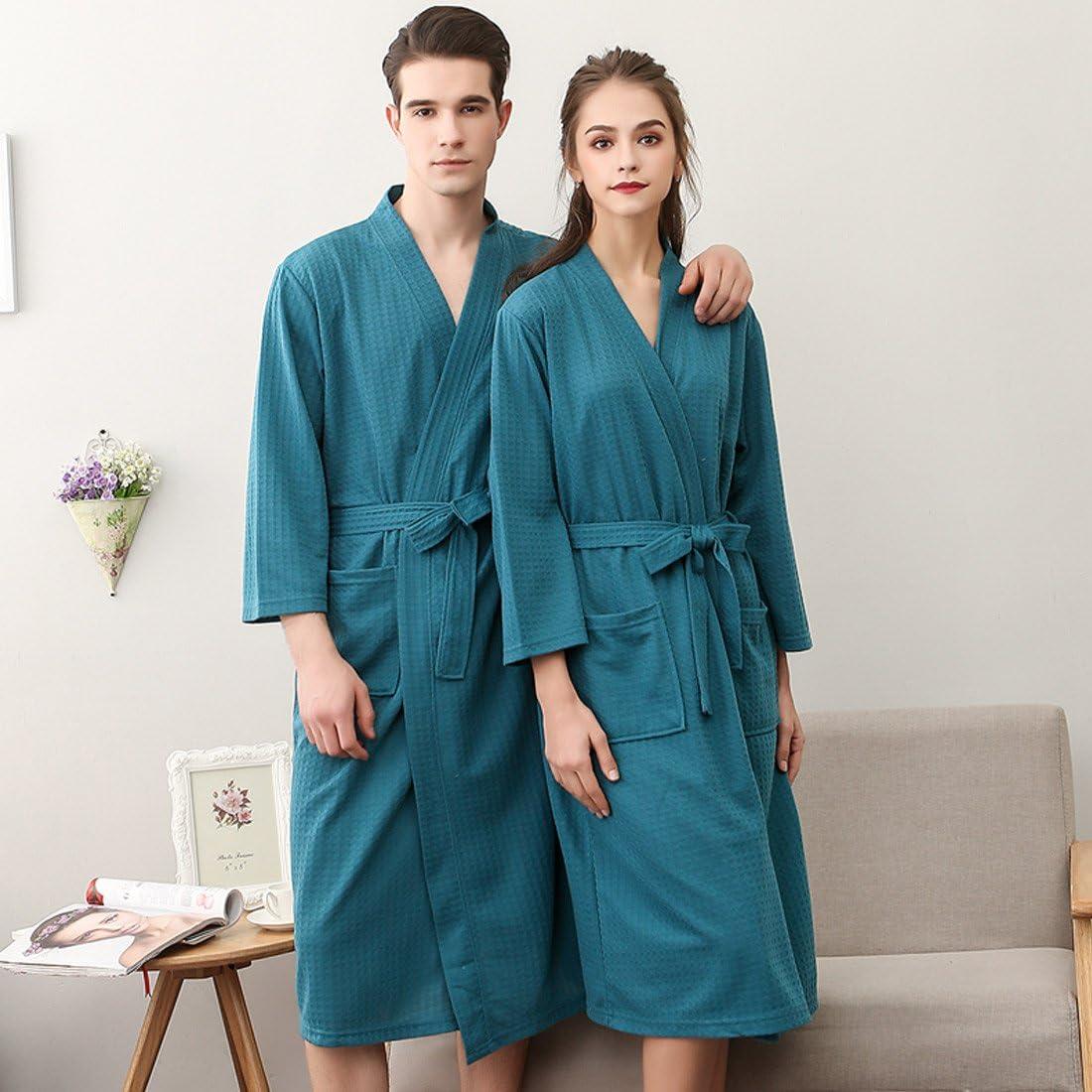 SUIMO Rosa Violeta Gris Verde Albornoz Grueso de Invierno Oto/ño Bata de Ba/ño Kimono Unisex para Hombre Mujer Ropa de Dormir Pijama para Hotel Casa Piscina