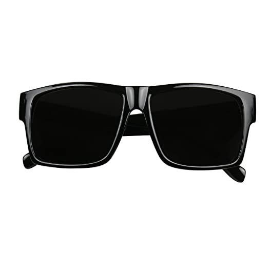 73e156bd45 Amazon.com  ShadyVEU - Super Extremely Dark Black Square Retro Flat Top 80 s  UV400 OG Eazy E Sunglasses (Glossy Frame