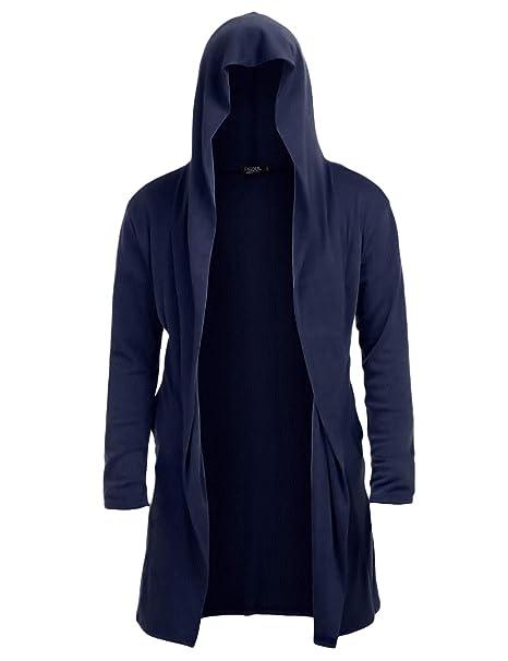 Amazon.com: Cárdigan largo con capucha para hombre, con ...