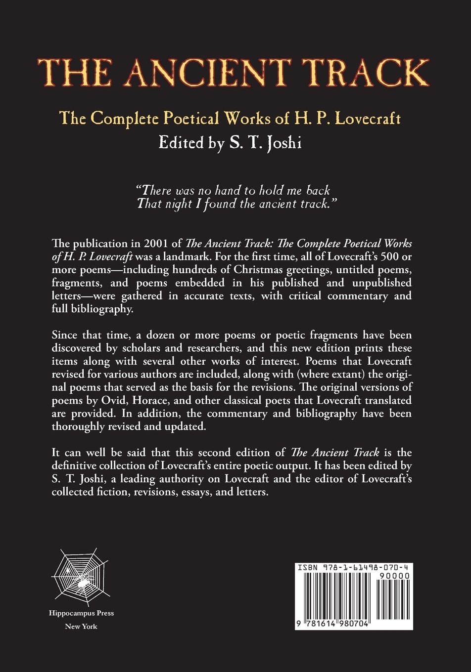 the ancient track the complete poetical works of h p lovecraft the ancient track the complete poetical works of h p lovecraft h p lovecraft s t joshi 9781614980704 com books