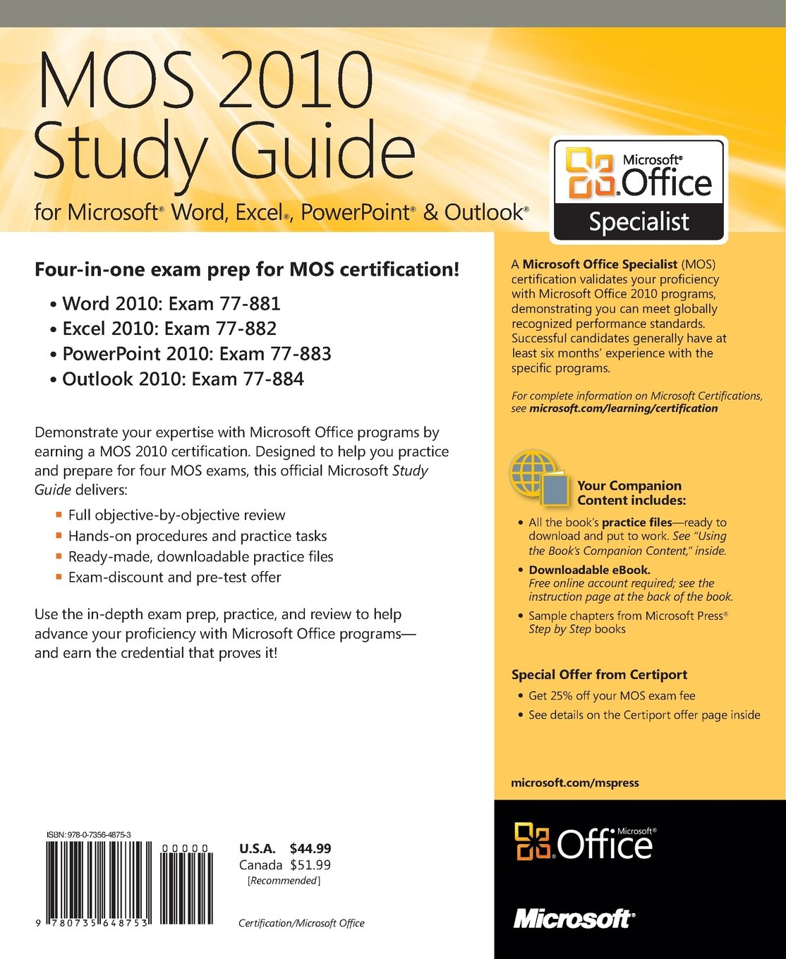 Mos 2010 study guide for microsoft word excel powerpoint and mos 2010 study guide for microsoft word excel powerpoint and outlook exams joan lambert joyce cox 0783324831665 books amazon xflitez Image collections