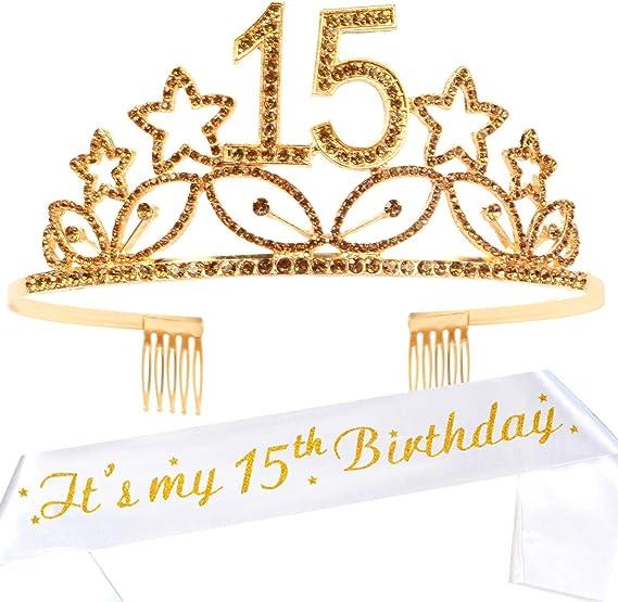 15th Birthday Gifts for Girl,15th Birthday Tiara and Sash Pink,15th Birthday Decorations Party Supplies,Its My 15th Birthday Satin Sash Crystal Tiara Birthday Crown for 15th Birthday Party Decoration