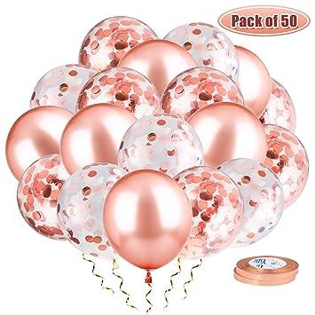 Whaline 50 Piezas Confeti Globos de Oro Rosa, incluidos 24 Globos de Látex y 24 Globos de Confeti con 2 Piezas de Cintas para Decoraciones de Fiesta ...