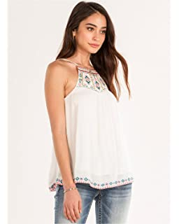 Taylor Sage Women s Embroidered Lace Up Tank Top at Amazon Women s ... 848da4399