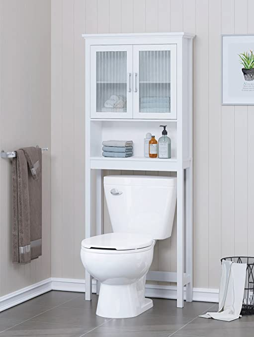 Spirich Home Bathroom Shelf Over The Toilet Bathroom Cabinet Organizer With Moru Tempered Glass Door White