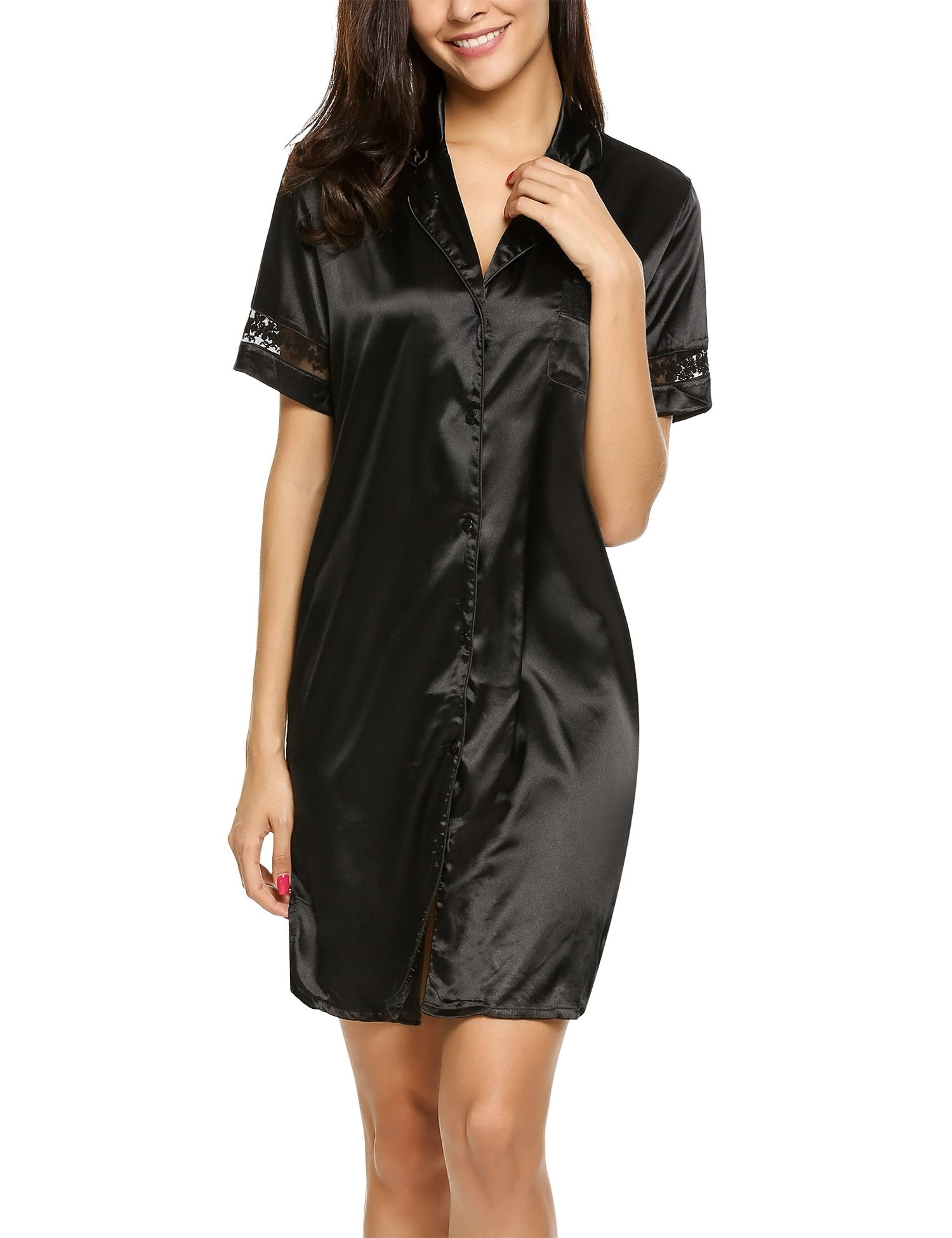 HOTOUCH Women's Above Knee Bridal Nightgown Sleep Dress With Chest Pocket Night shirt Black M