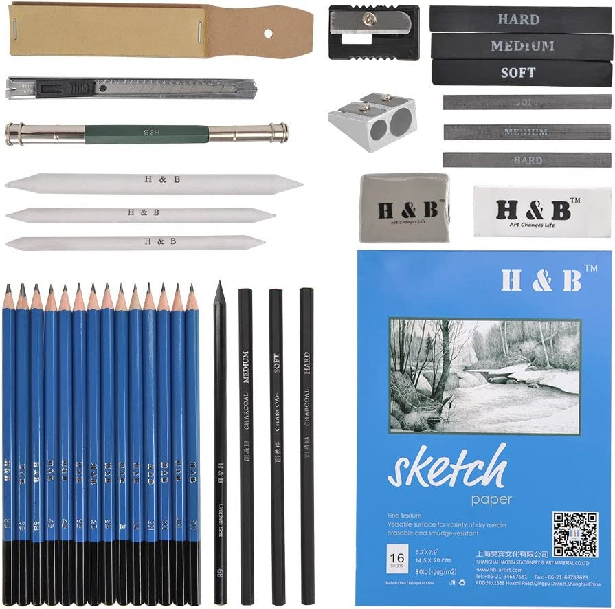 Art Supplies Drawing Kit with Graphite Charcoal Sticks Tool Sketch book for Adults Kids 35pcs Drawing and Sketching Pencil Set Professional Sketch Pencils Set in Zipper Carry Case
