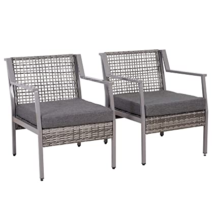 Astounding Outsunny 2 Piece Aluminum Rattan Wicker Outdoor Patio Cushioned Chair Furniture Set Grey Short Links Chair Design For Home Short Linksinfo