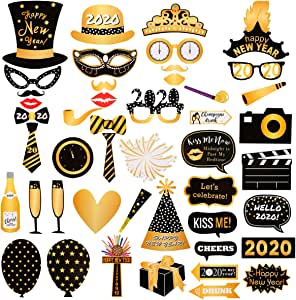 Amazon.com: 47Pcs New Years Eve Photo Booth Props- 2020 ...