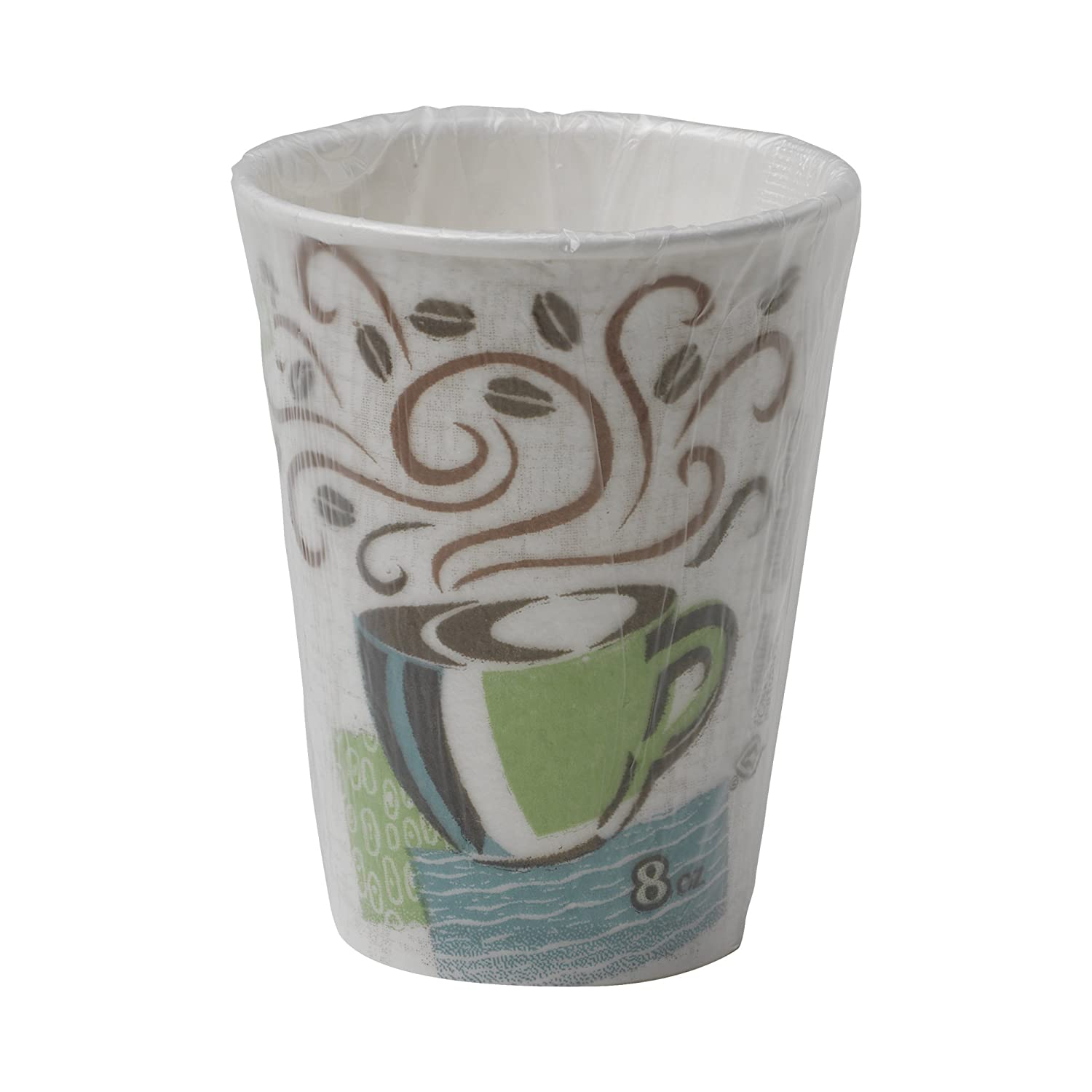 Dixie PerfecTouch, 5338CDWR, Coffee Haze, 8 oz., Individually Wrapped Insulated Paper Hot Cup by GP PRO (Georgia-Pacific)(Case of 1,000 Cups), Coffee Haze Design