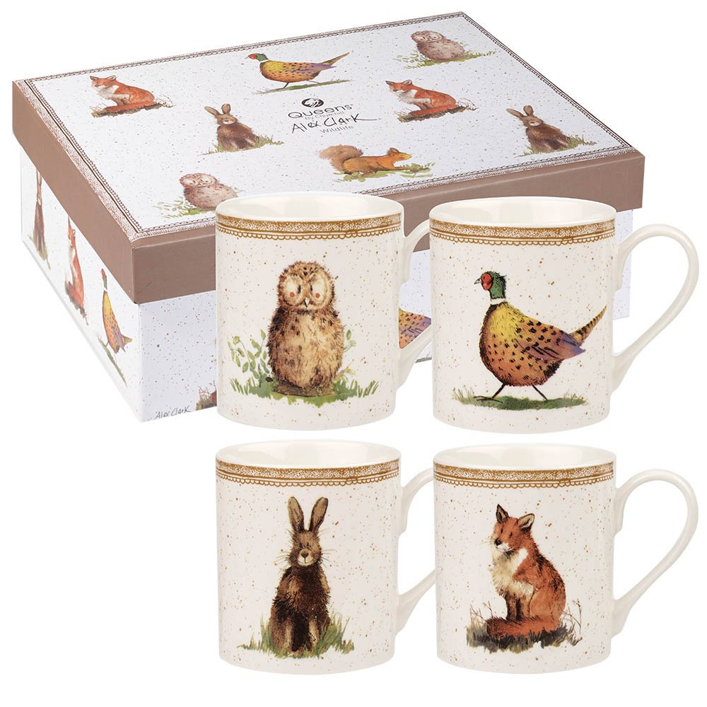 Alex Clark Wildlife Larch Mug Set, Multi-Colour Queens ACWL00011