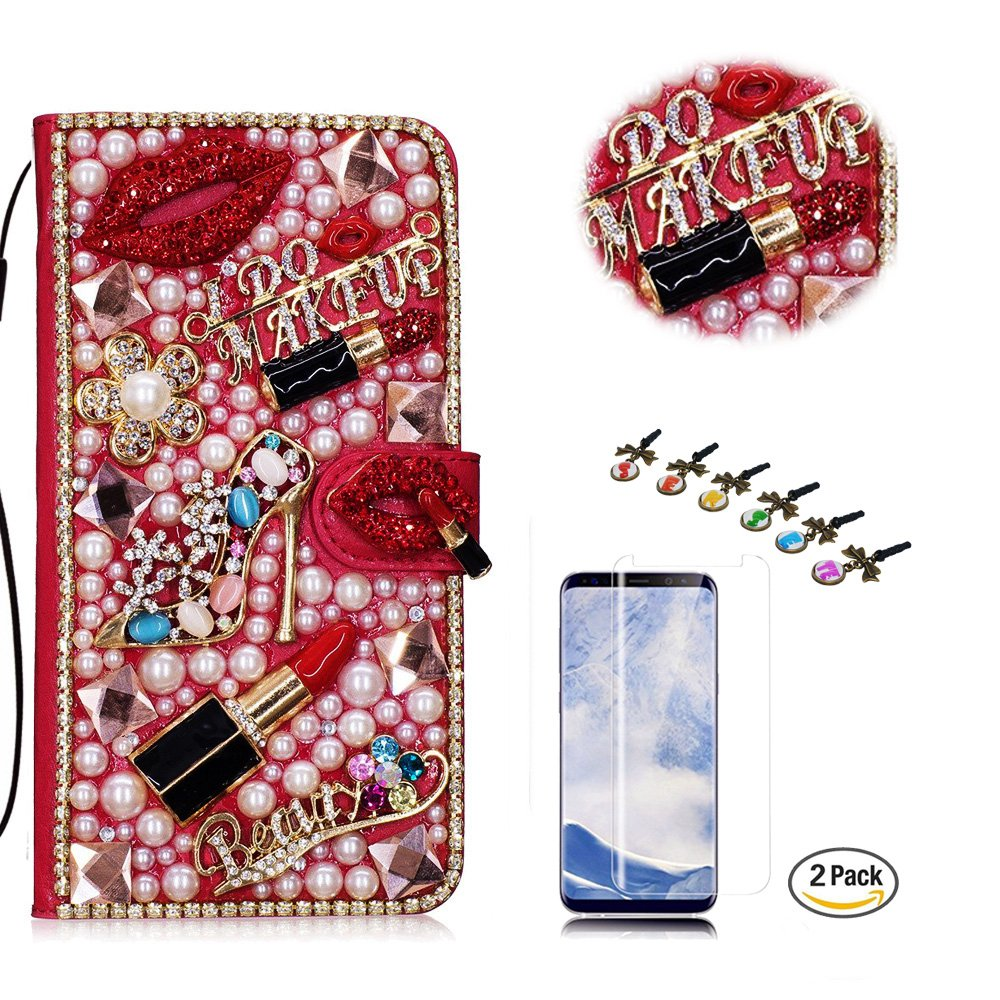 STENES LG Stylo 3 Case - Stylish - 3D Handmade Bling Crystal Girls Lipstick High Heel Flowers Wallet Credit Card Slots Fold Media Stand Leather Cover Case with Screen Protector - Red
