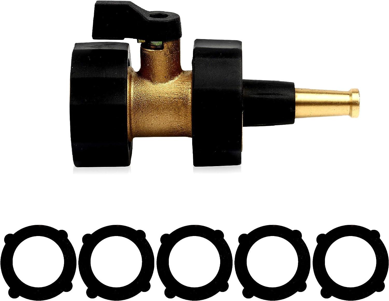 Belerry Brass Shut-Off Valve with Brass Jet Sweeper Sprayer Nozzle Kit, Brass Jet Sweeper Sprayer Nozzle, Brass Shut-Off Valve for Garden Hose-Black