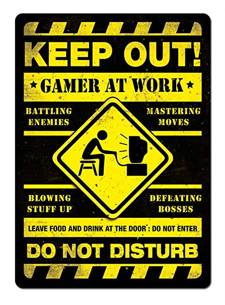 Amazon Keep Out Gamer At Work Yellow Metal Wall Sign Plaque 40 Magnificent Keep Out Signs For Bedroom Doors