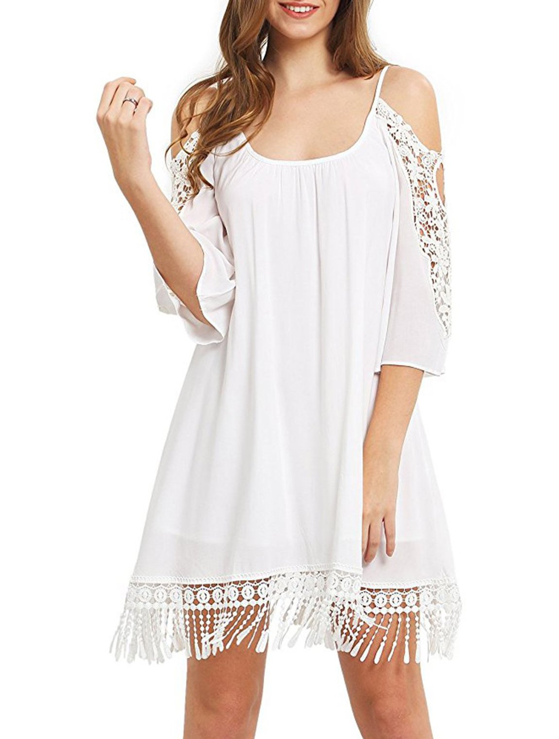 Jollymoda Women's Summer Cold Shoulder Crochet Lace Sleeve Loose Beach Dress (White, S)