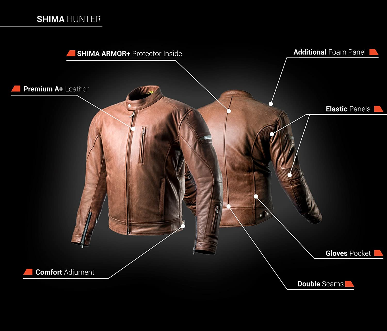 Amazon.com: SHIMA HUNTER, Slim Back Medium Protector Summer Vintage Retro Mens Leather Protective Motorcycle Jacket with Armor and Inside Pocket (S-XXL) ...