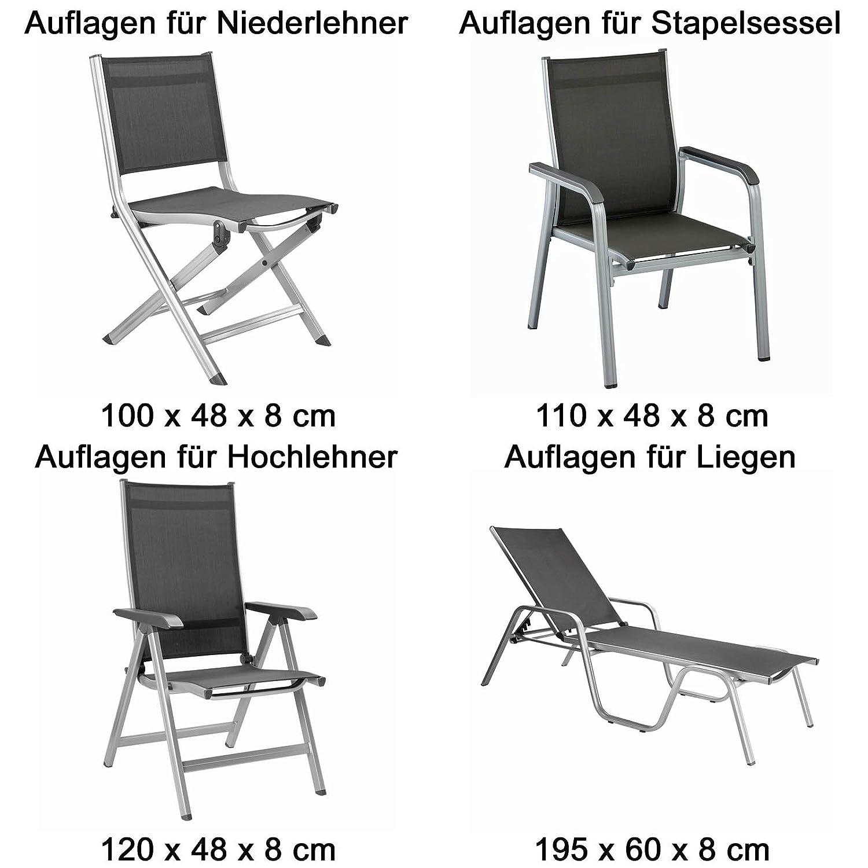 Amazon.de: 6 Kettler Gartenmöbel Auflagen für Niederlehner Sessel ...