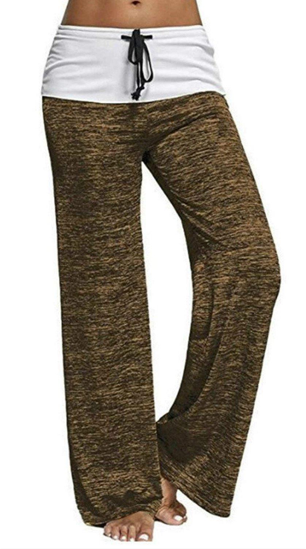 Artfish Women's Color Block Fold Over Waist Yoga Pants Flare Leg Workout Leggings (522#Yellow, S)