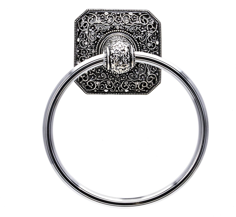Carpe Diem Hardware 4067-9C Juliane Grace Full Towel Ring Made with Swarovski Crystals, Chalice
