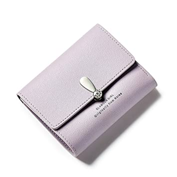3b3469685d72d ASOSMOS Frauen Kurze Mini Geldbörse Falten Einfarbige Brieftasche PU-Leder  Reißverschluss Münzfach Kartenhalter (Lila